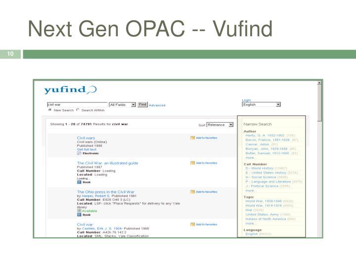 Next Gen OPAC -- Vufind