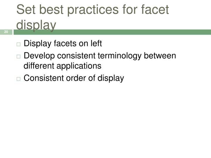 Set best practices for facet display