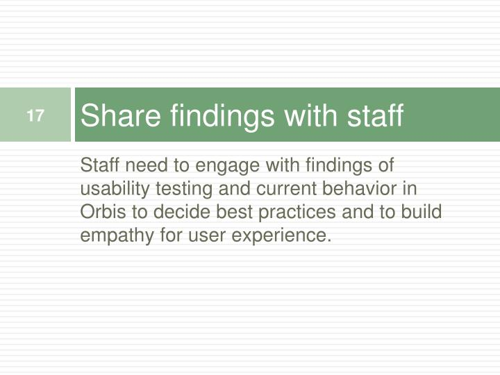 Share findings with staff