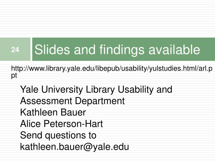 Slides and findings available