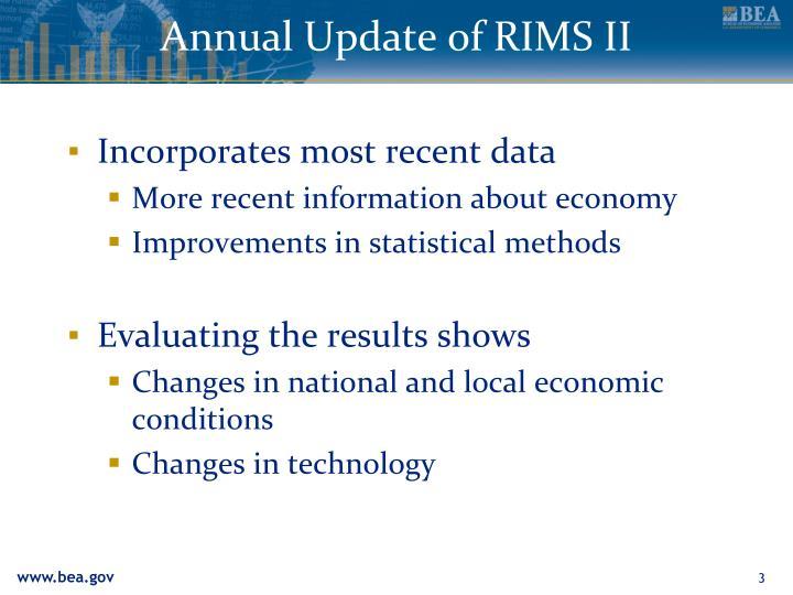 Annual Update of RIMS II