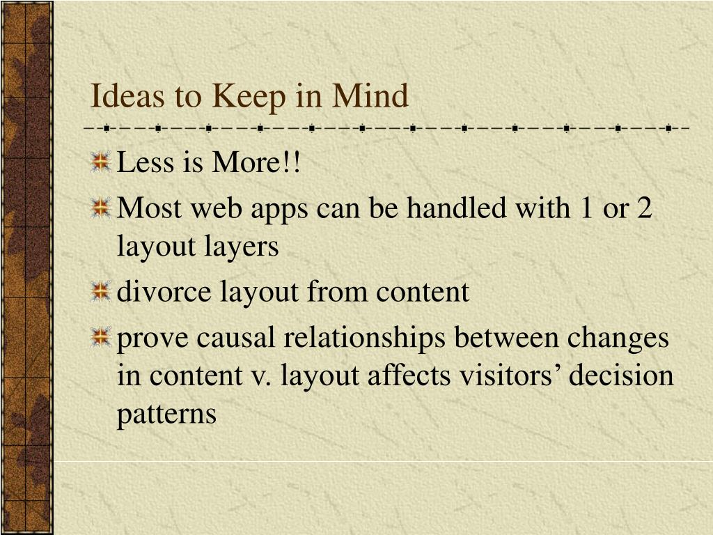 Ideas to Keep in Mind
