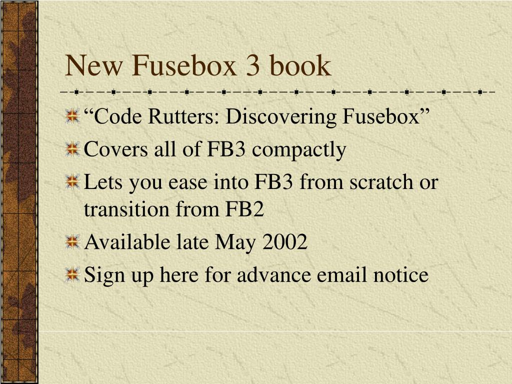 New Fusebox 3 book