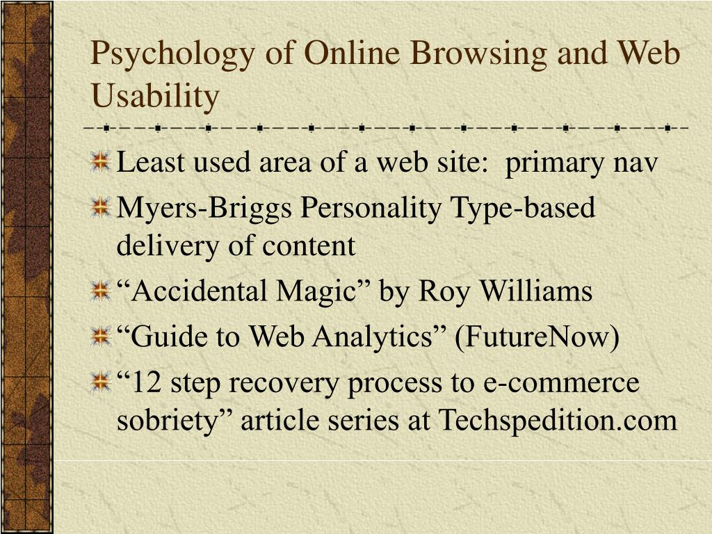Psychology of Online Browsing and Web Usability