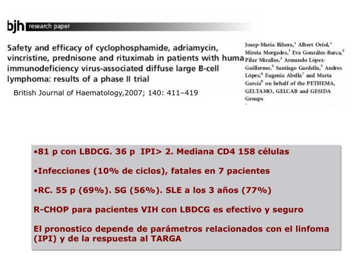 81 p con LBDCG. 36 p  IPI> 2. Mediana CD4 158 células