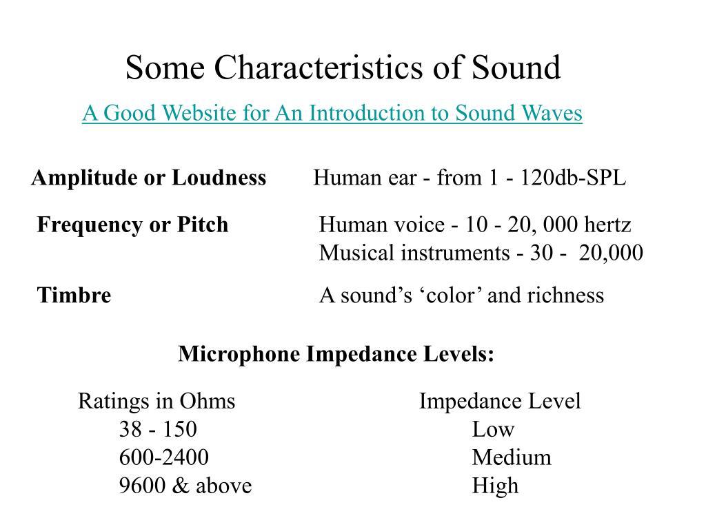 Some Characteristics of Sound