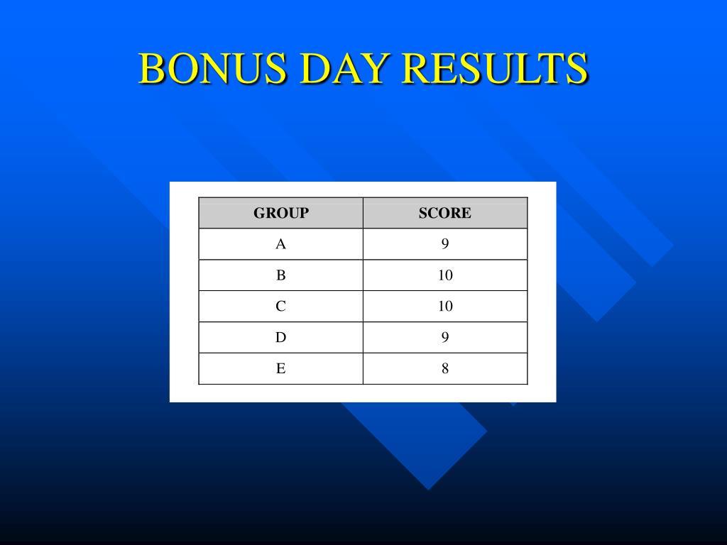 BONUS DAY RESULTS