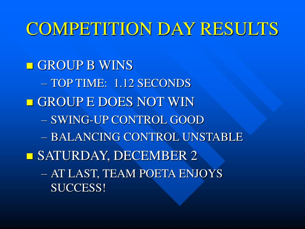 COMPETITION DAY RESULTS