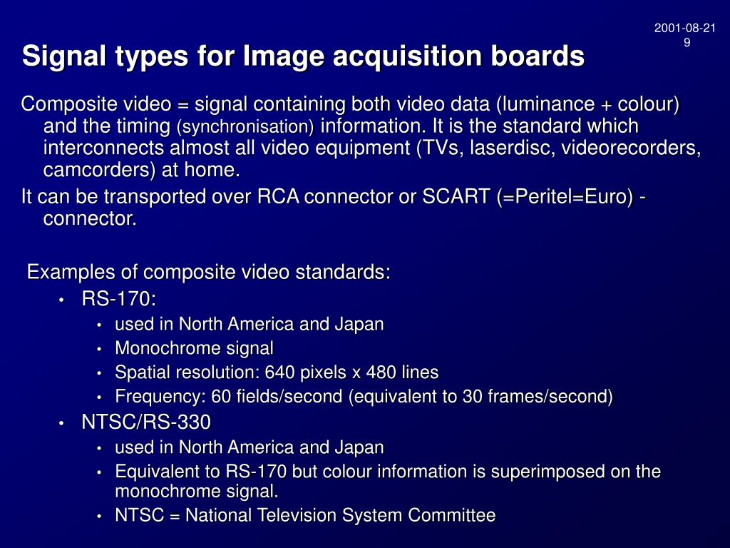 Signal types for Image acquisition boards