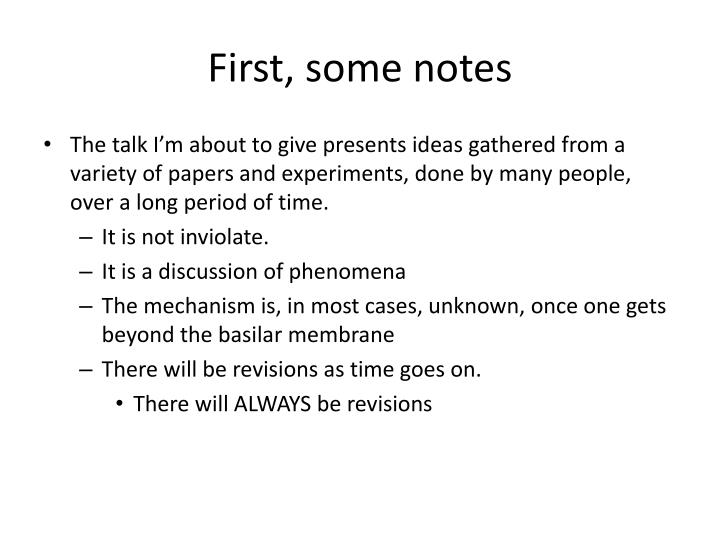 First some notes