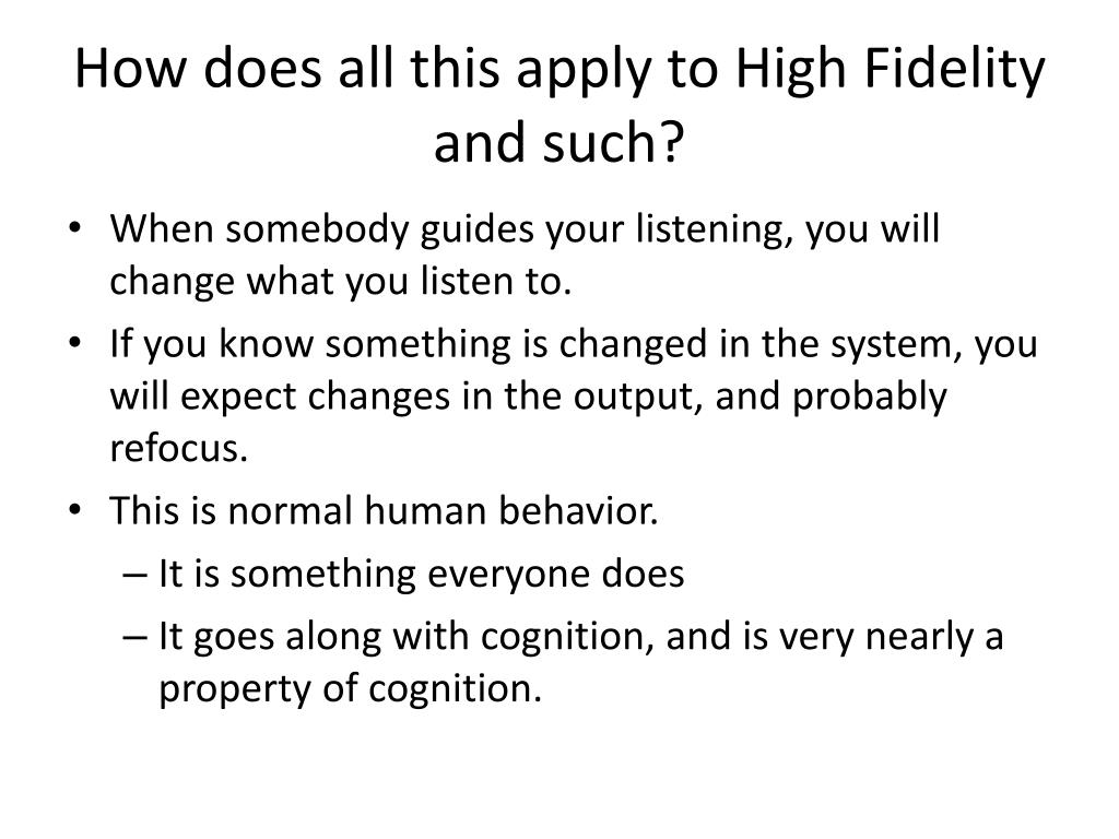 How does all this apply to High Fidelity and such?
