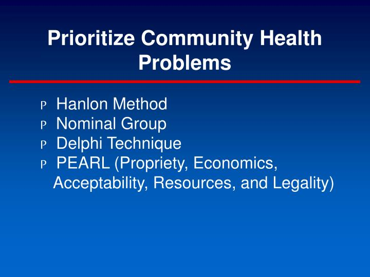 Prioritize Community Health Problems