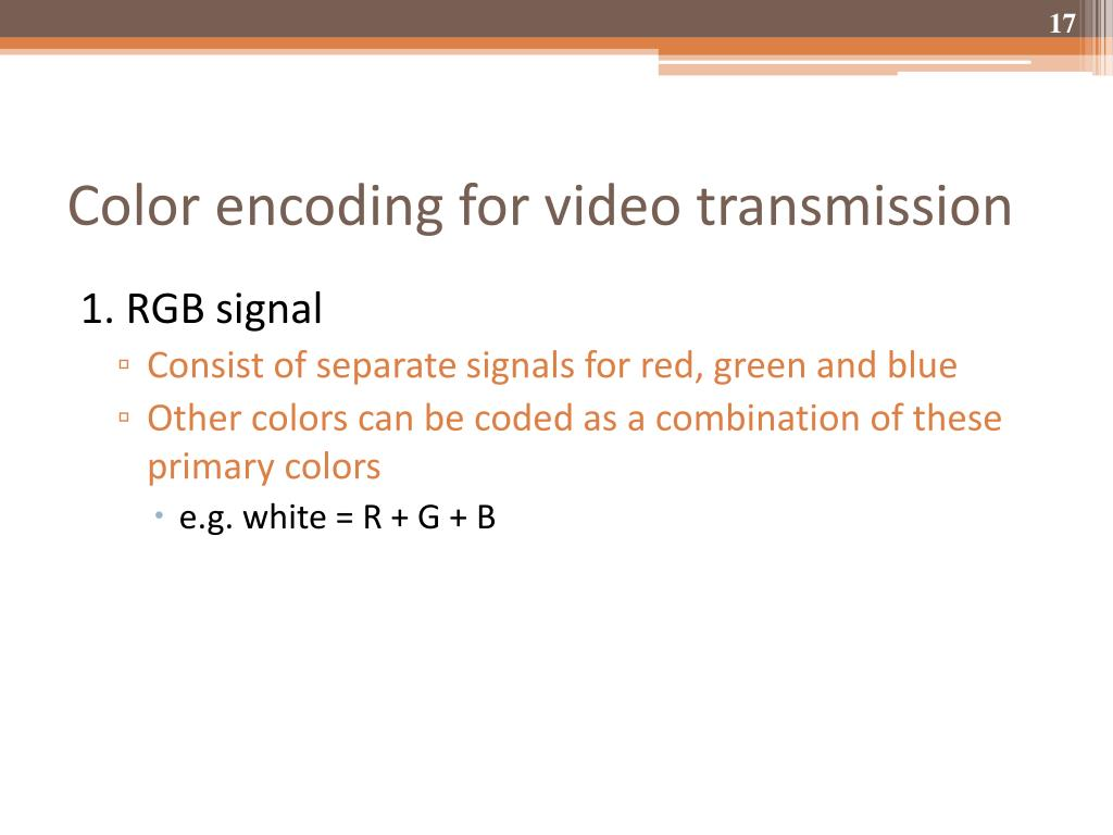 Color encoding for video transmission