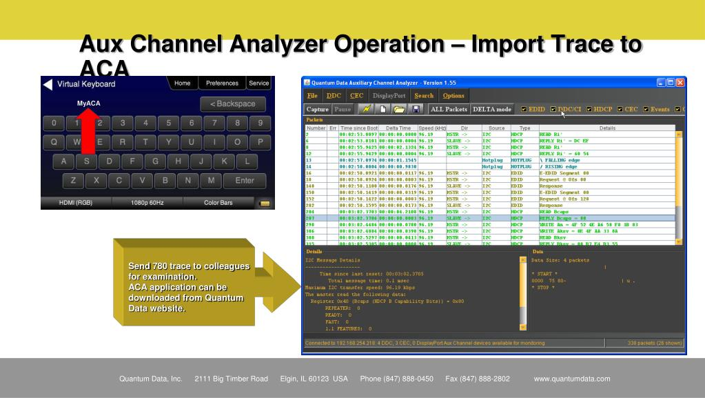 Aux Channel Analyzer Operation – Import Trace to ACA