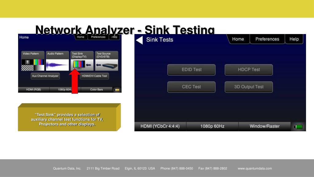 Network Analyzer - Sink Testing