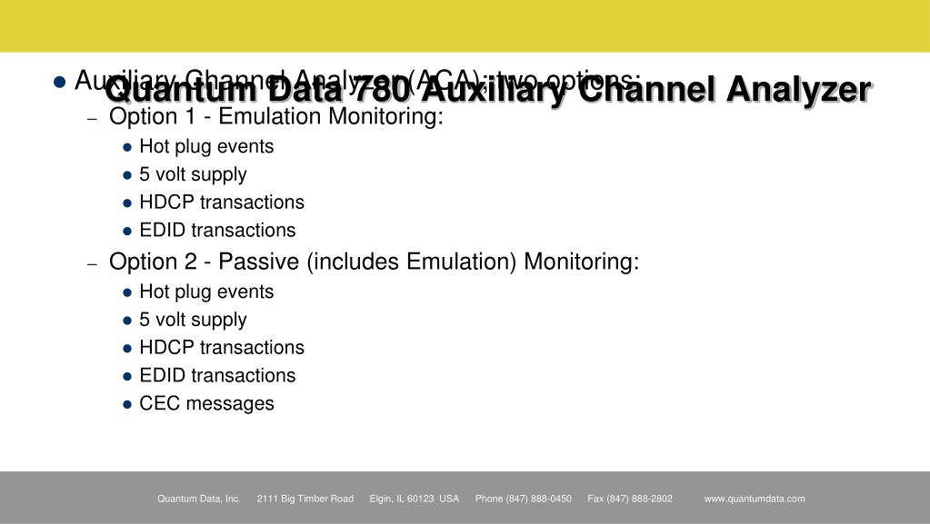 Quantum Data 780 Auxiliary Channel Analyzer