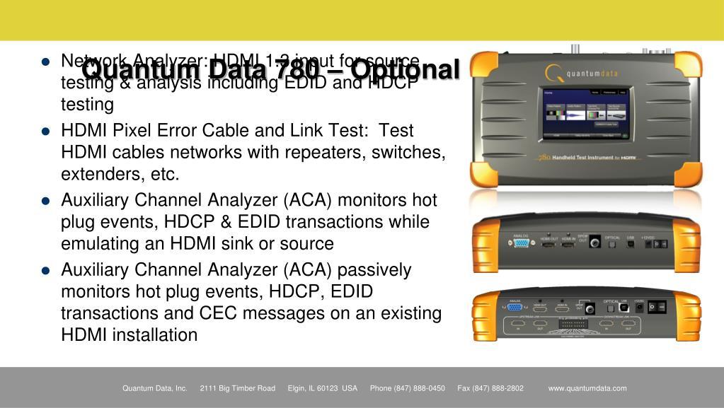 Quantum Data 780 – Optional Features