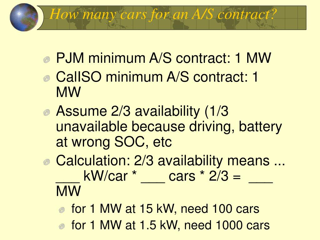 How many cars for an A/S contract?