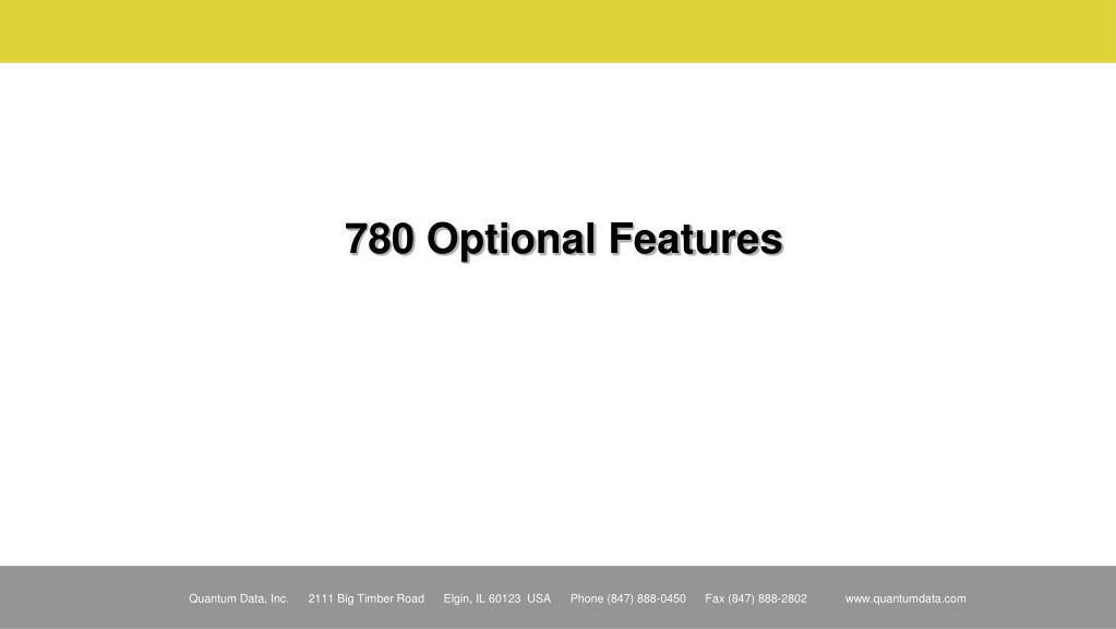 780 Optional Features