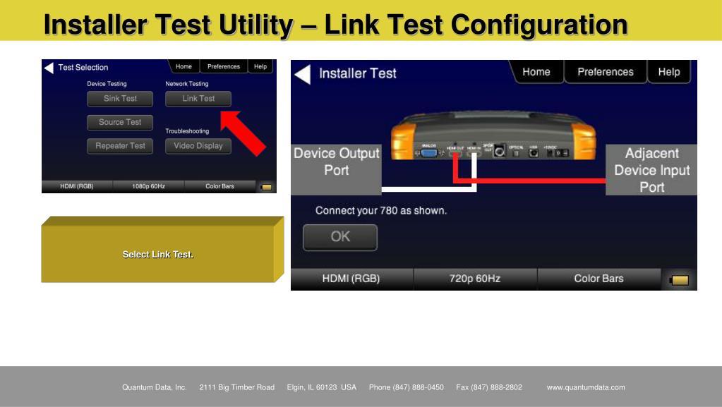Installer Test Utility – Link Test Configuration
