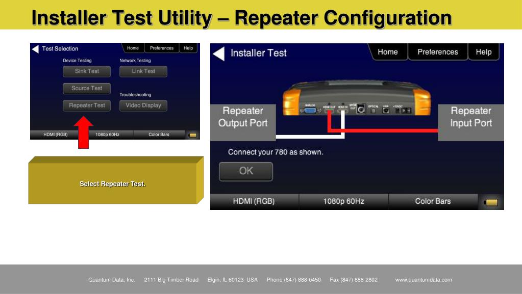 Installer Test Utility – Repeater Configuration