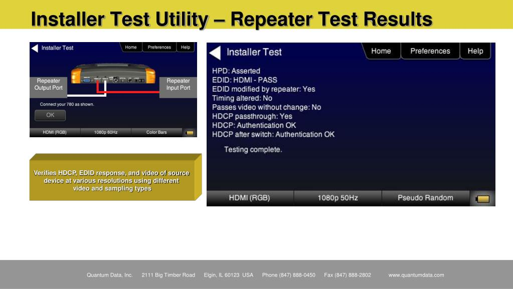 Installer Test Utility – Repeater Test Results