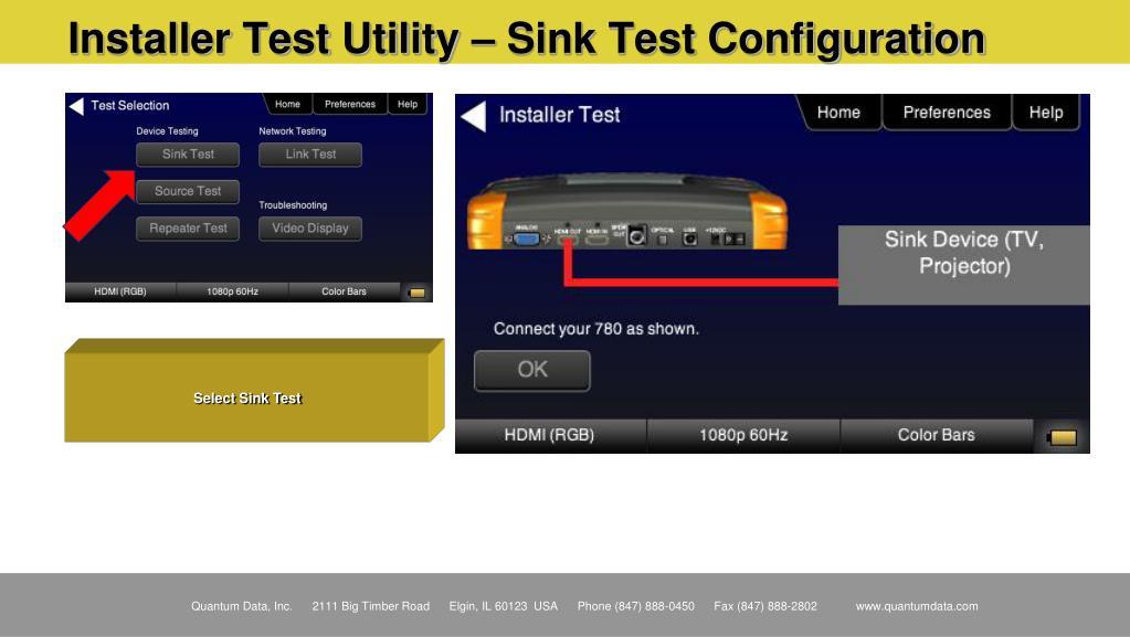 Installer Test Utility – Sink Test Configuration