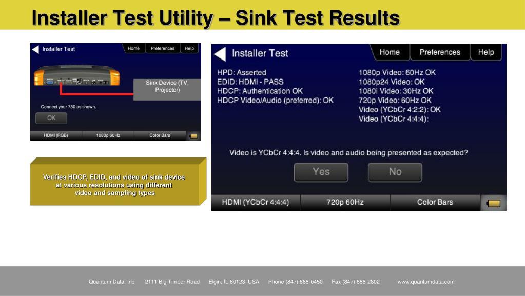 Installer Test Utility – Sink Test Results