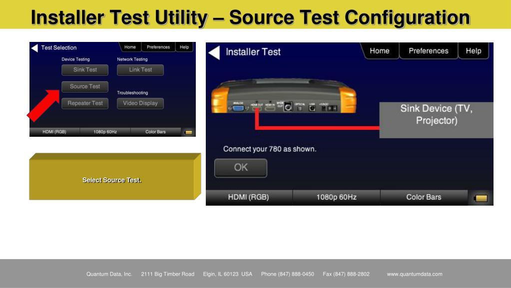 Installer Test Utility – Source Test Configuration