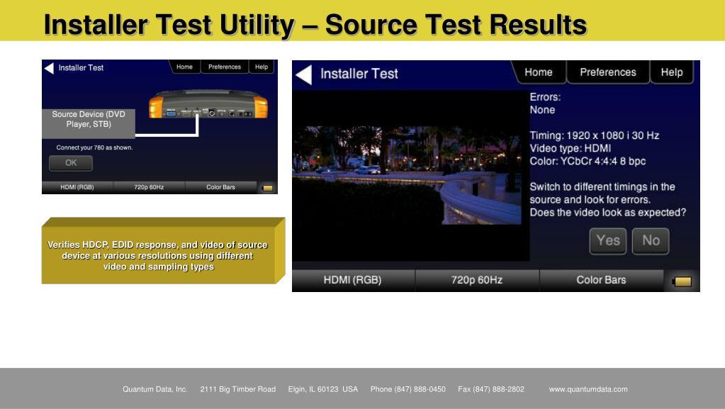 Installer Test Utility – Source Test Results
