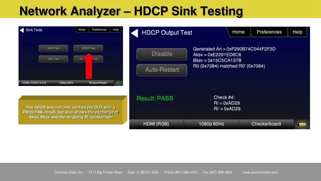 Network Analyzer – HDCP Sink Testing