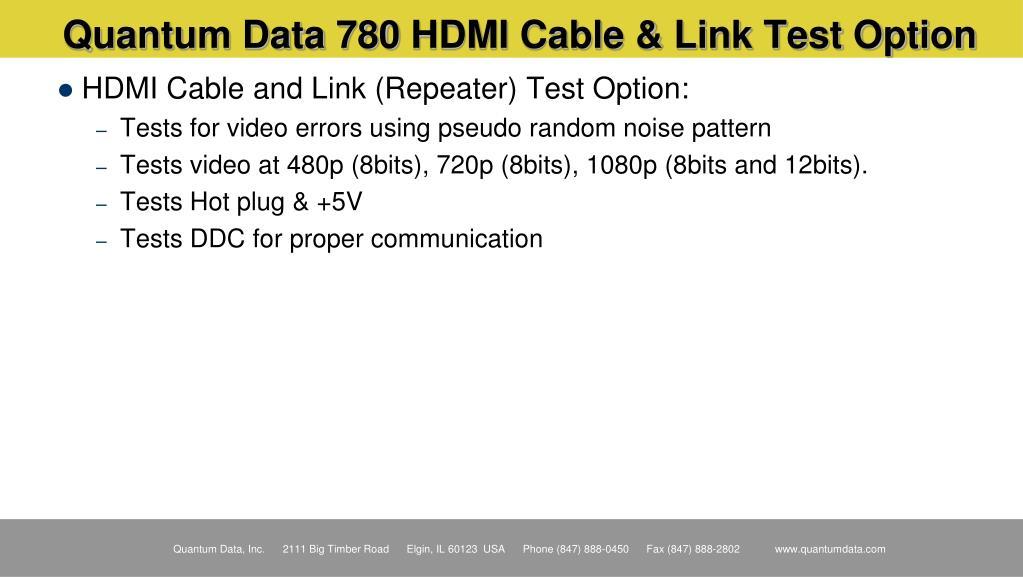 Quantum Data 780 HDMI Cable & Link Test Option