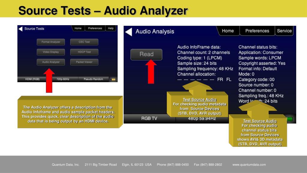 Source Tests – Audio Analyzer