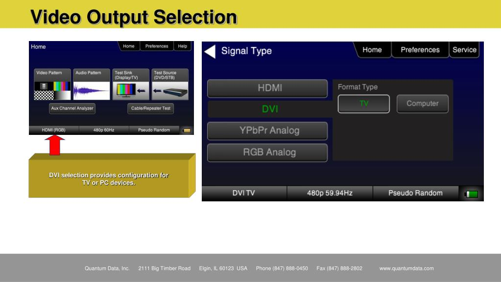 Video Output Selection