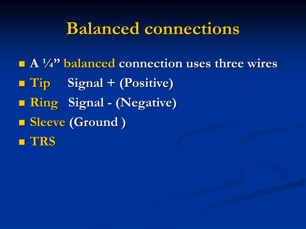 Balanced connections