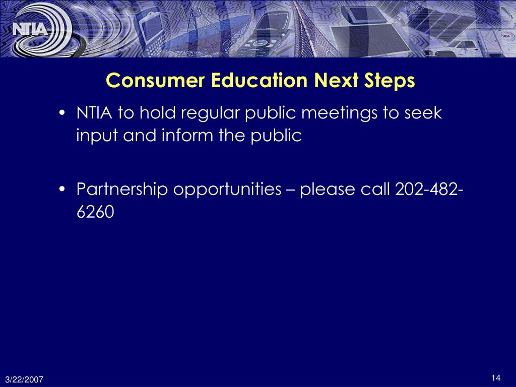 Consumer Education Next Steps