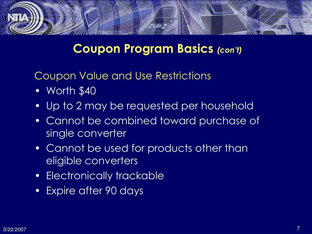 Coupon Program Basics