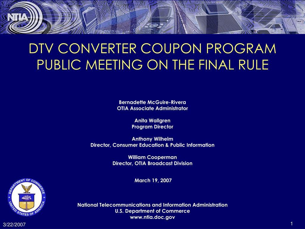 DTV CONVERTER COUPON PROGRAM
