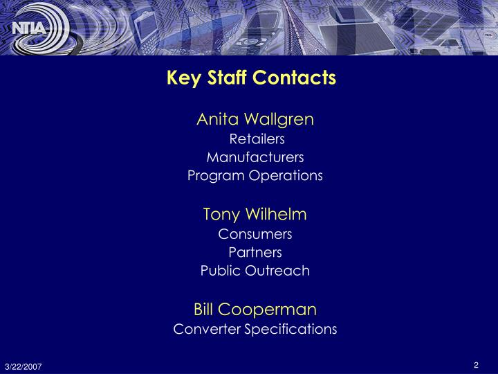 Key staff contacts