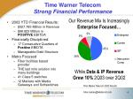time warner telecom strong financial performance