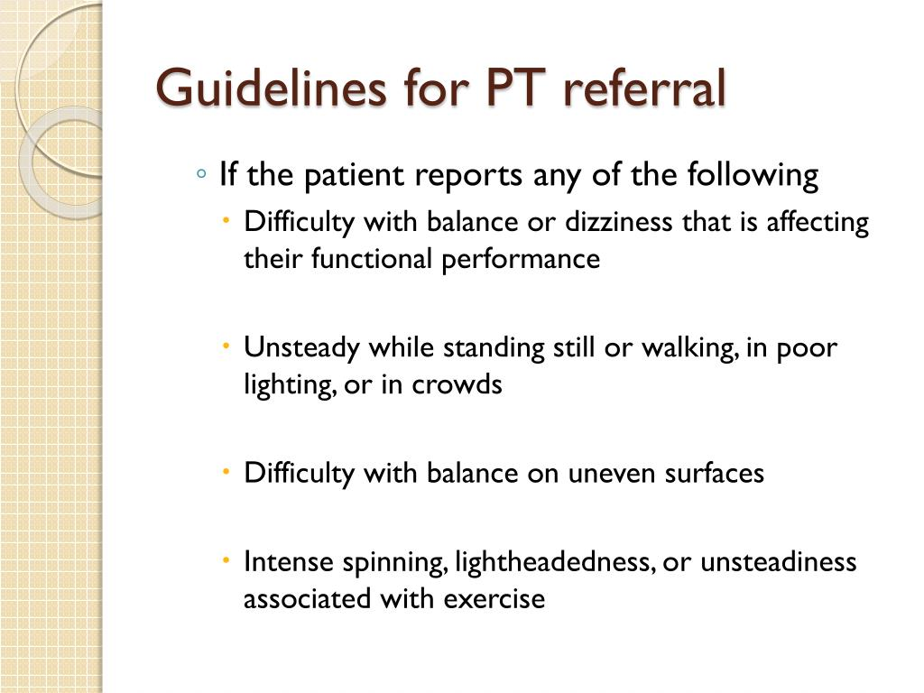 Guidelines for PT referral