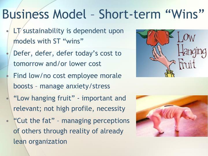 """Business Model – Short-term """"Wins"""""""