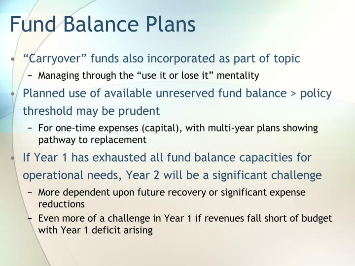 Fund Balance Plans