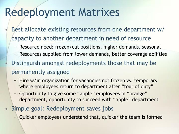 Redeployment Matrixes