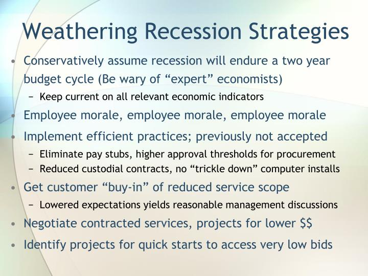 Weathering Recession Strategies