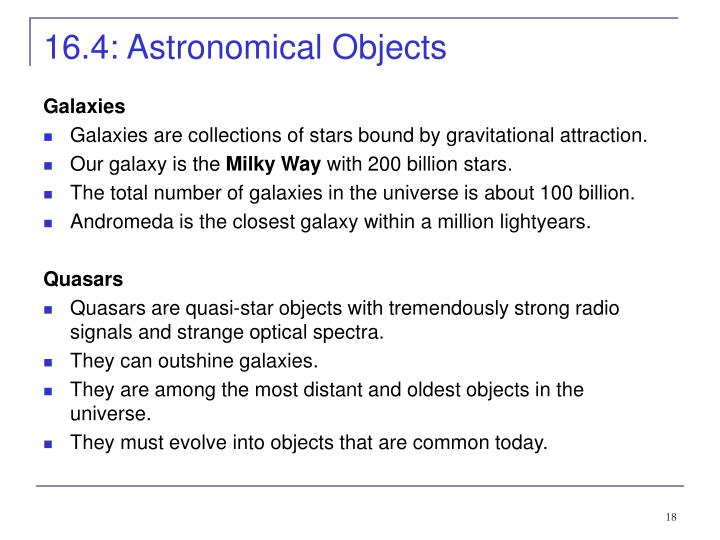 16.4: Astronomical Objects