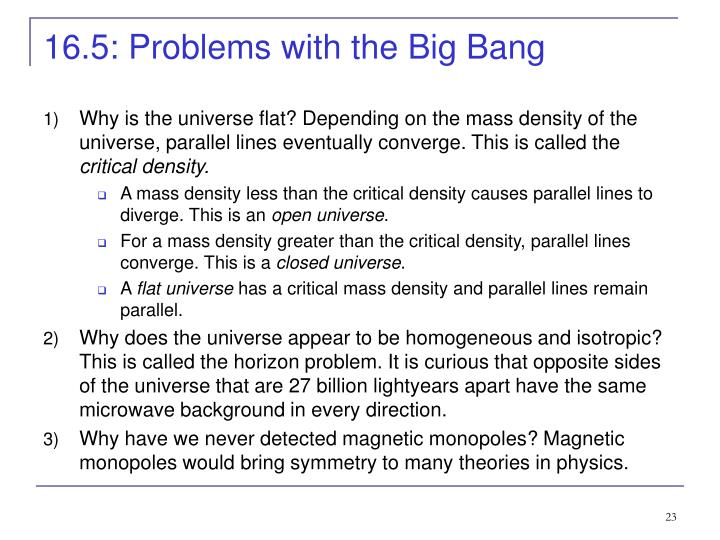 16.5: Problems with the Big Bang