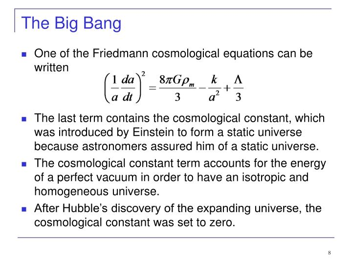 One of the Friedmann cosmological equations can be written