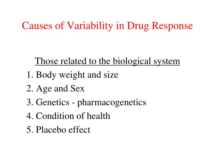 Causes of Variability in Drug Response