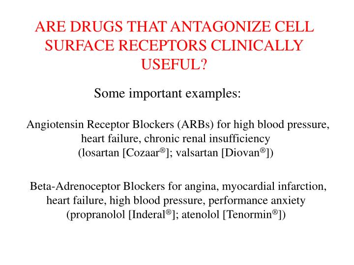 ARE DRUGS THAT ANTAGONIZE CELL SURFACE RECEPTORS CLINICALLY USEFUL?